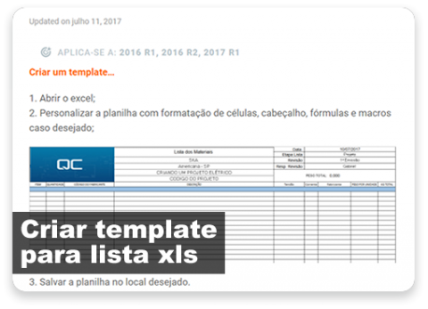 Criar templates para listas XLS
